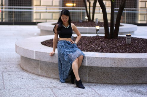 Summer Boho: Crop Top and a Patterned High-Low Skirt