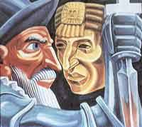 Artist depiction of Pizarro and the Inca King
