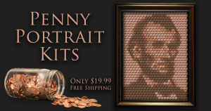 Create a portrait of Abraham Lincoln from your own pennies!