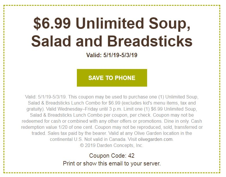 graphic relating to Olive Garden Printable Coupon identified as Olive Backyard garden $6.99 Soup, Salad Breadsticks! Penny Puss