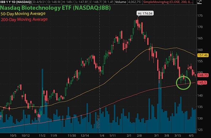penny stocks to watch trading Nasdaq Biotech ETF IBB stock chart