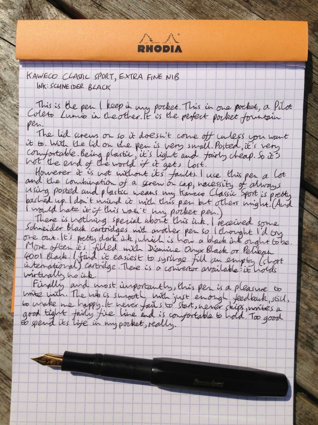 Kaweco Classic Sport handwritten review
