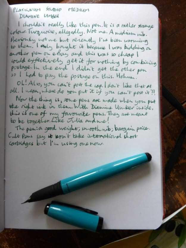 Platignum Studio fountain pen handwritten review