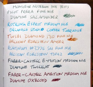 Monsieur fountain pen notebook ink tests