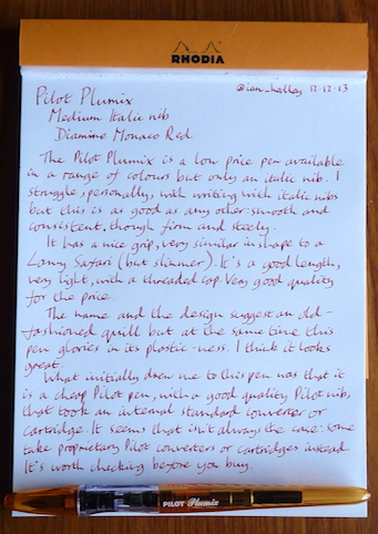 Pilot Plumix handwritten review