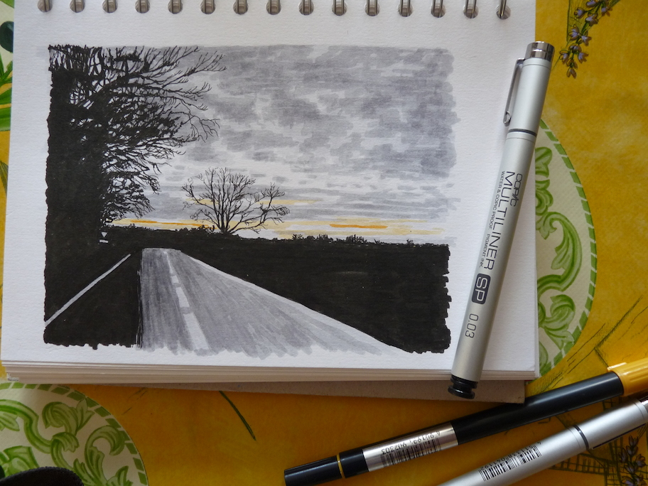 Top road to Dorchester sketch