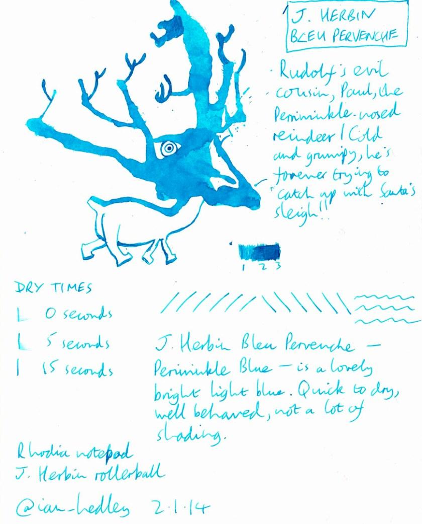 J Herbin Bleu Pervenche ink review doodle