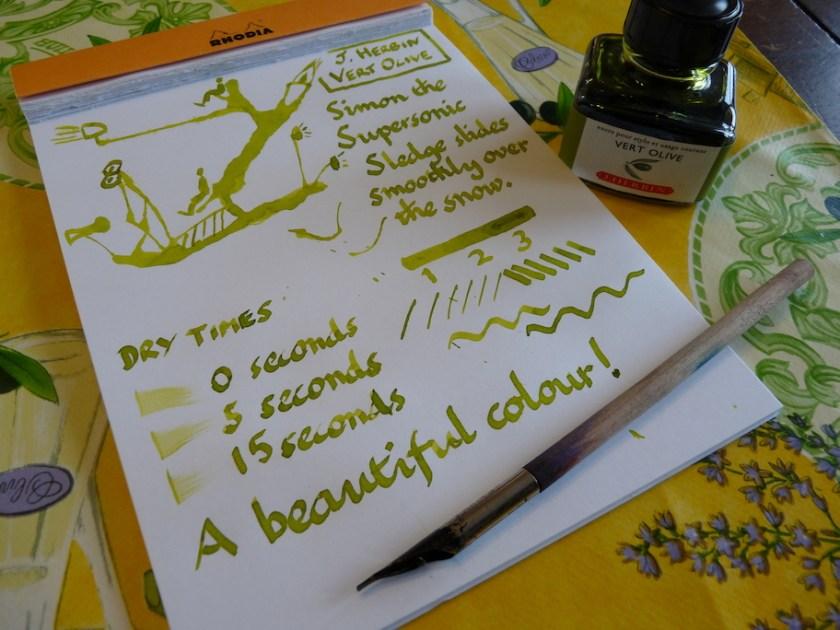 J Herbin Vert Olive ink review