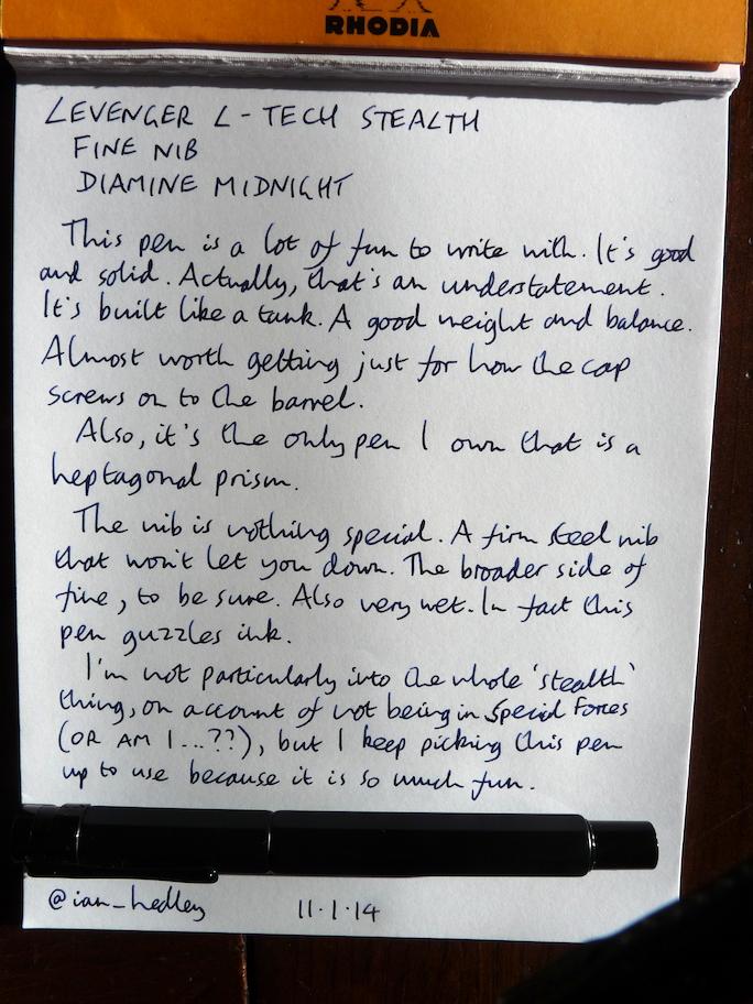Levenger L-Tech Stealth handwritten review