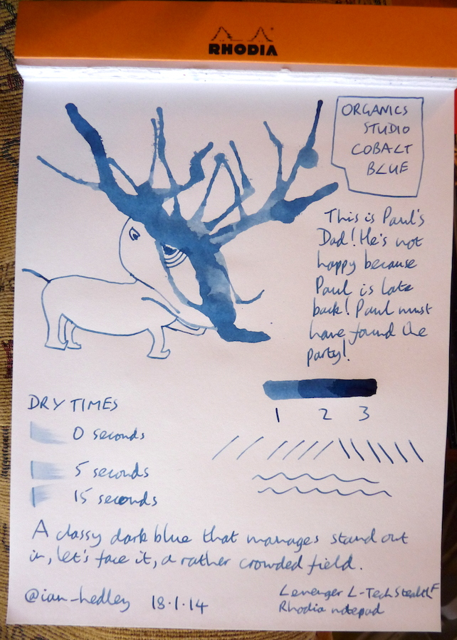 Organics Studio Cobalt Blue ink handwritten review