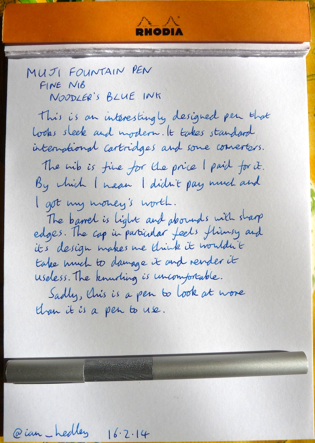MUJI Fountain Pen handwritten review