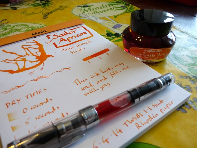 Sailor Jentle Apricot ink review