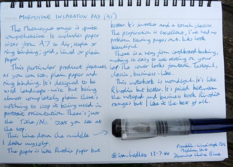 Maruman Mnemosyne Inspiration Pad handwritten review