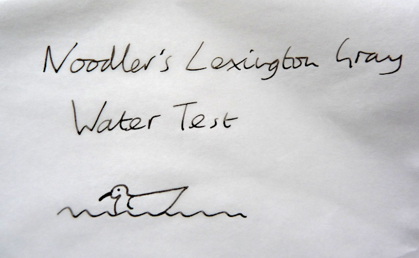 Noodlers Lexington Gray water test