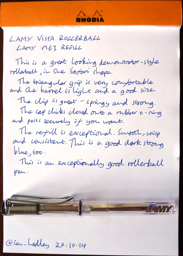 Lamy Vista rollerball handwritten review