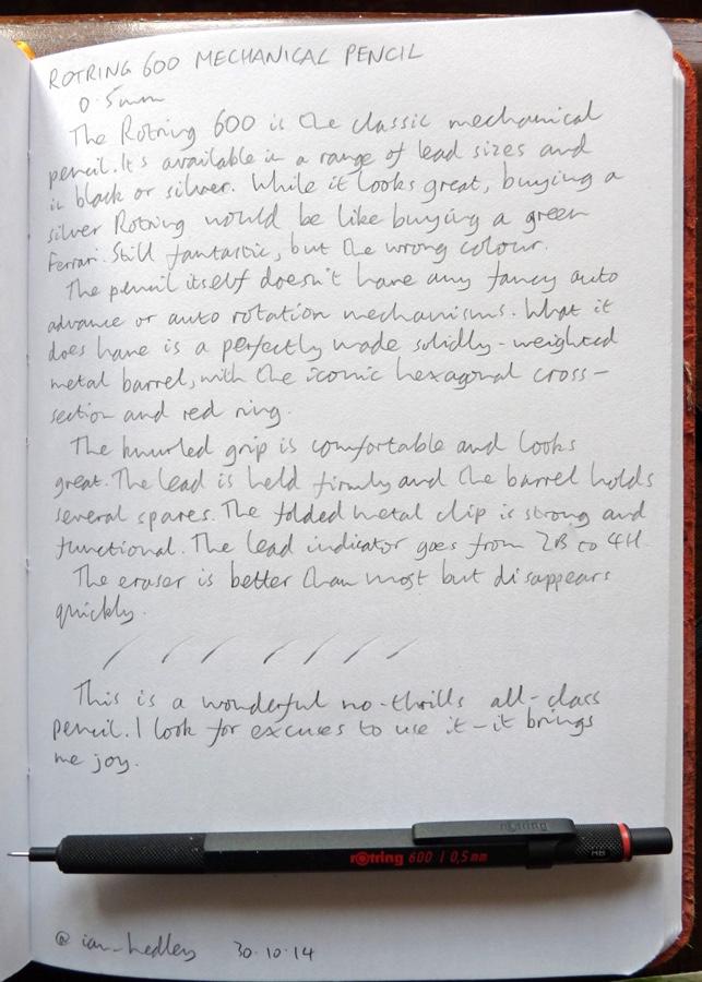 Rotring 600 mechanical pencil handwritten review
