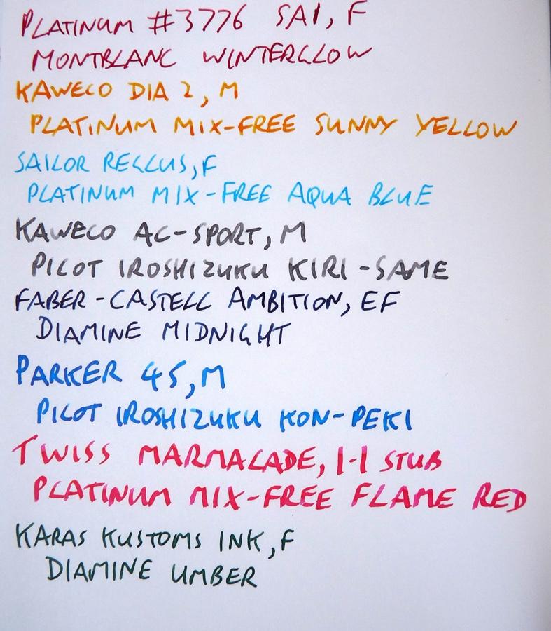 Midori Travelers Notebook Refill 013 lightweight ink test front