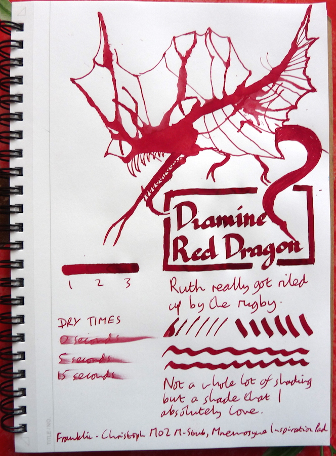 Diamine Red Dragon Inkling doodle