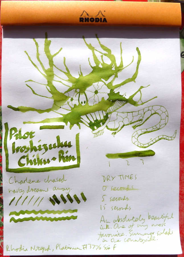 Pilot Iroshizuku Chiku-Rin Inkling doodle