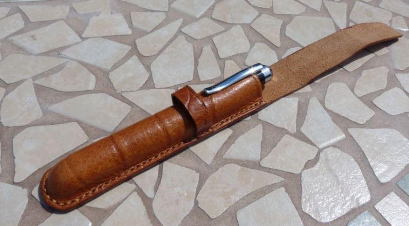 Barrington Pen Sleeve open with pen inside