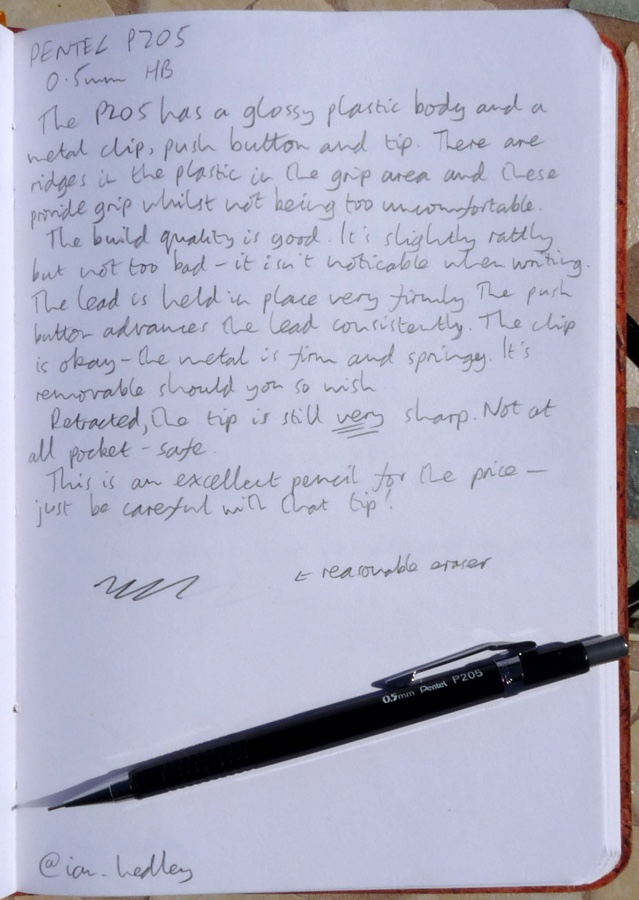 Pentel P205 handwritten review