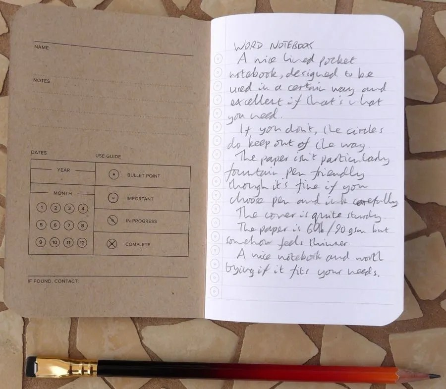 Word Notebook handwritten review