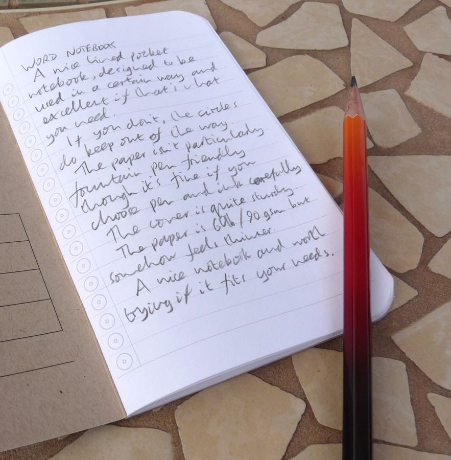 Word Notebook with pencil