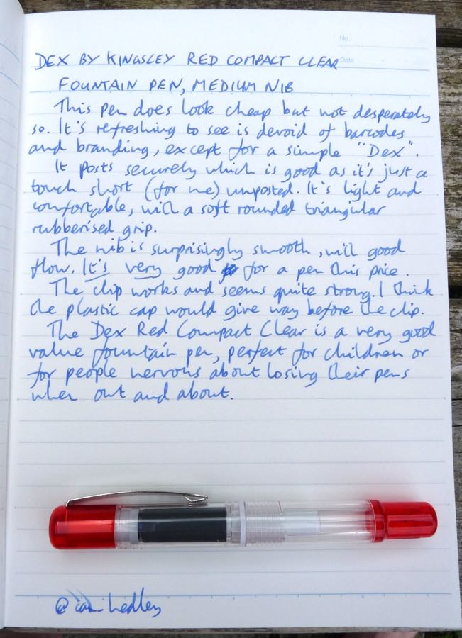Dex Compact Clear Fountain Pen handwritten review