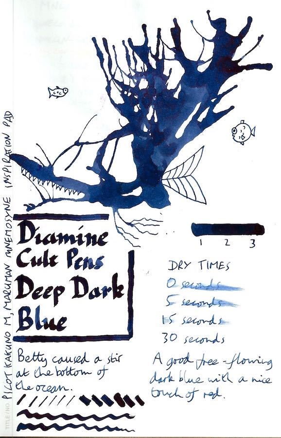 Diamine Cult Pens Deep Dark Blue Inkling