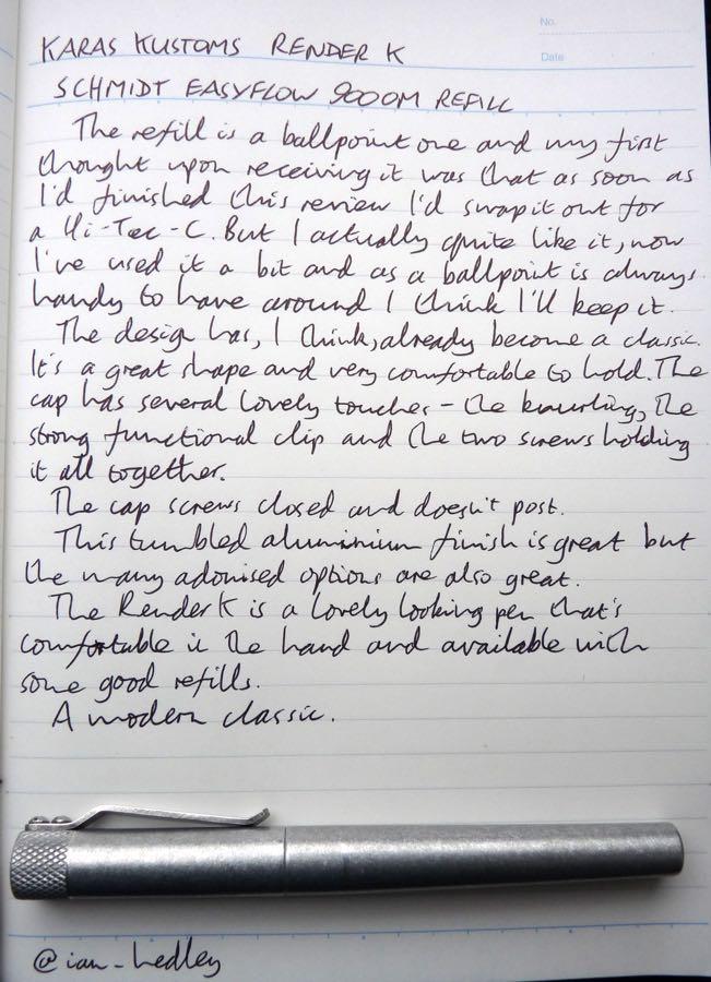 Karas Kustoms Render K handwritten review
