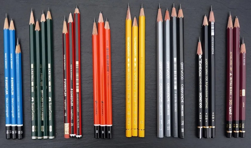 Drawing pencils selection of pencils