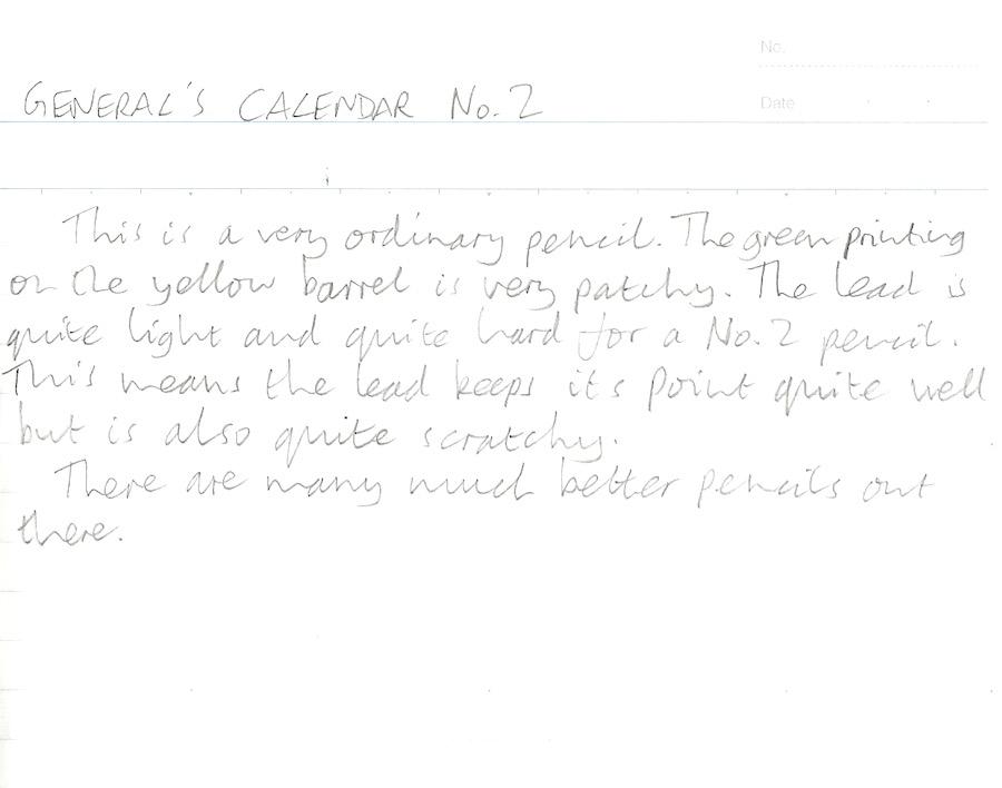Generals Calendar Pencil handwritten review