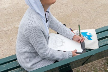 Tina sketching Eiffel Tower