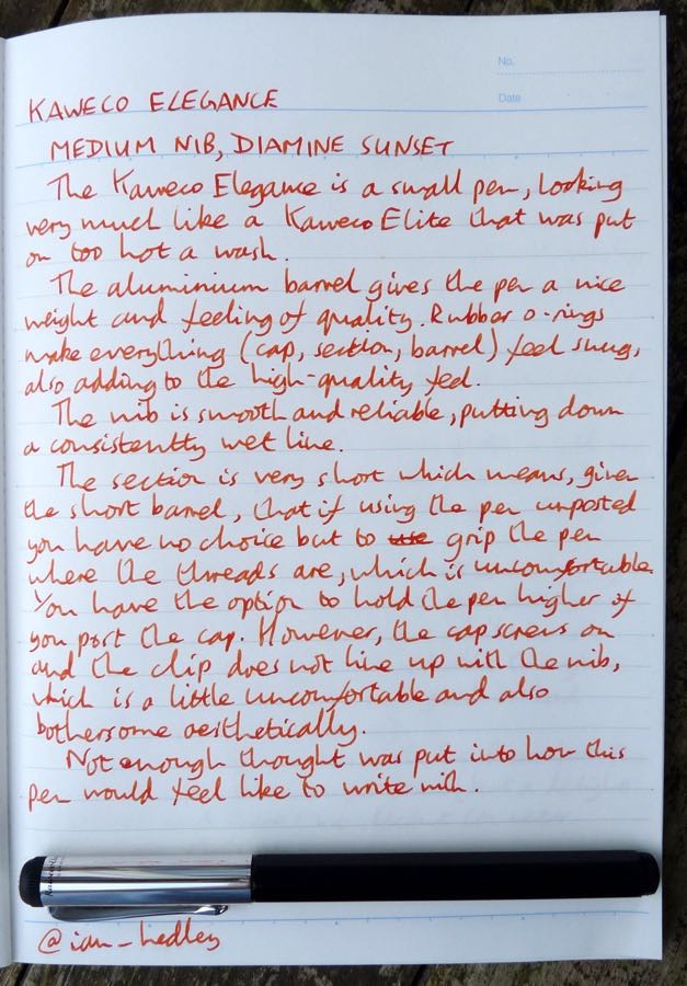 Kaweco Elegance handwritten review