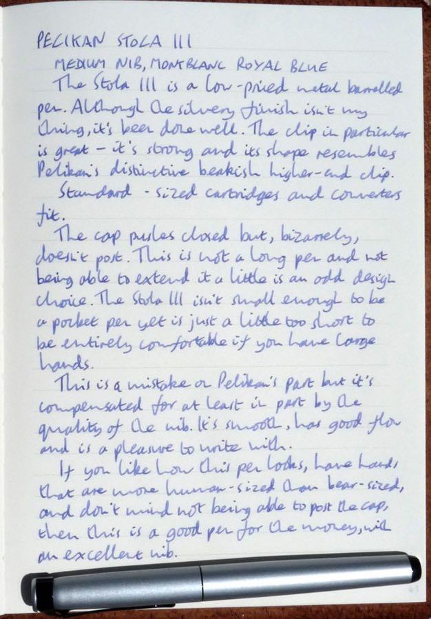 Pelikan Stola III handwritten review