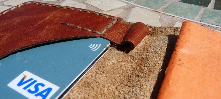 Galen wallet notebook closeup of penloop and cardslot