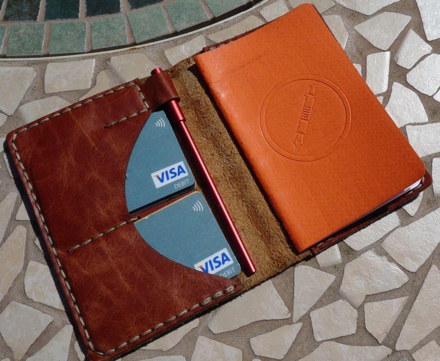 Galen wallet notebook insides full