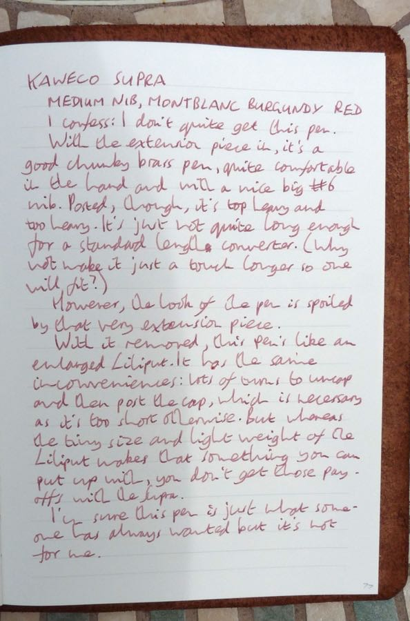 Kaweco Supra handwritten review