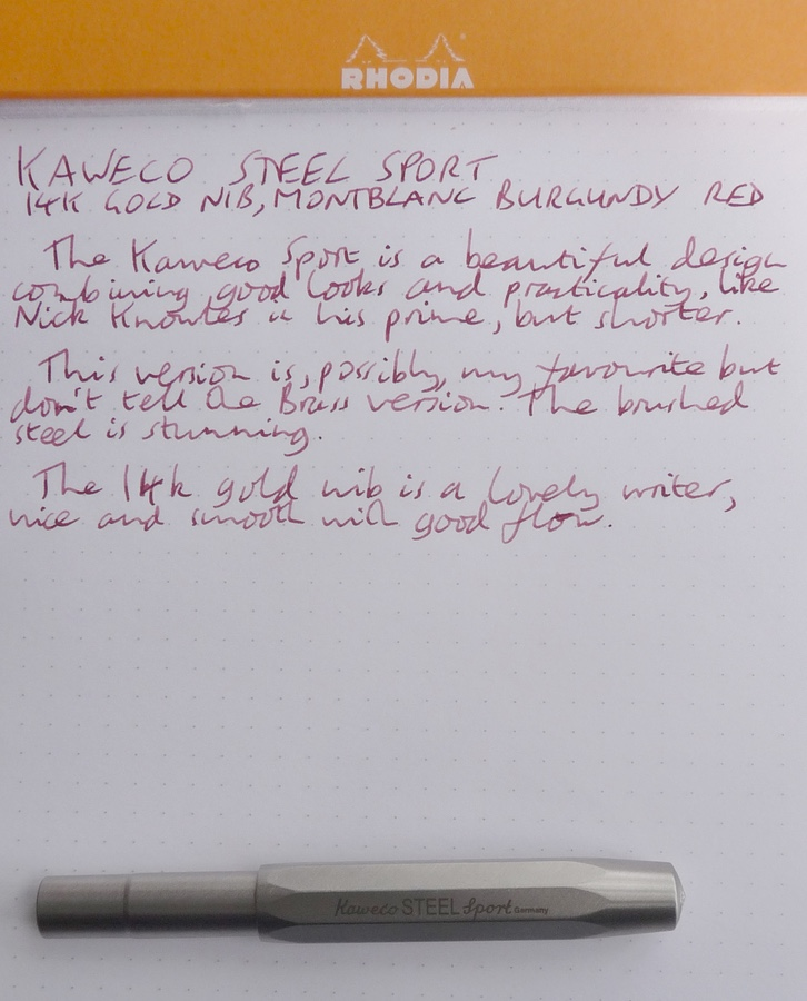 Kaweco Steel Sport handwritten review