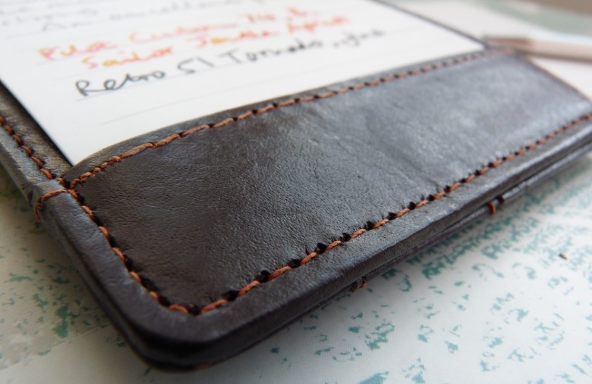 NoteShel Index Card Holder leather stitching