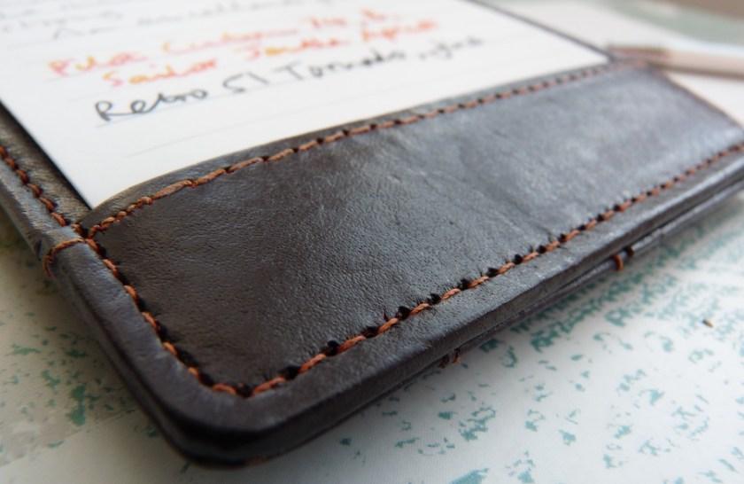 NoteShel Index Card Holder leather stitching