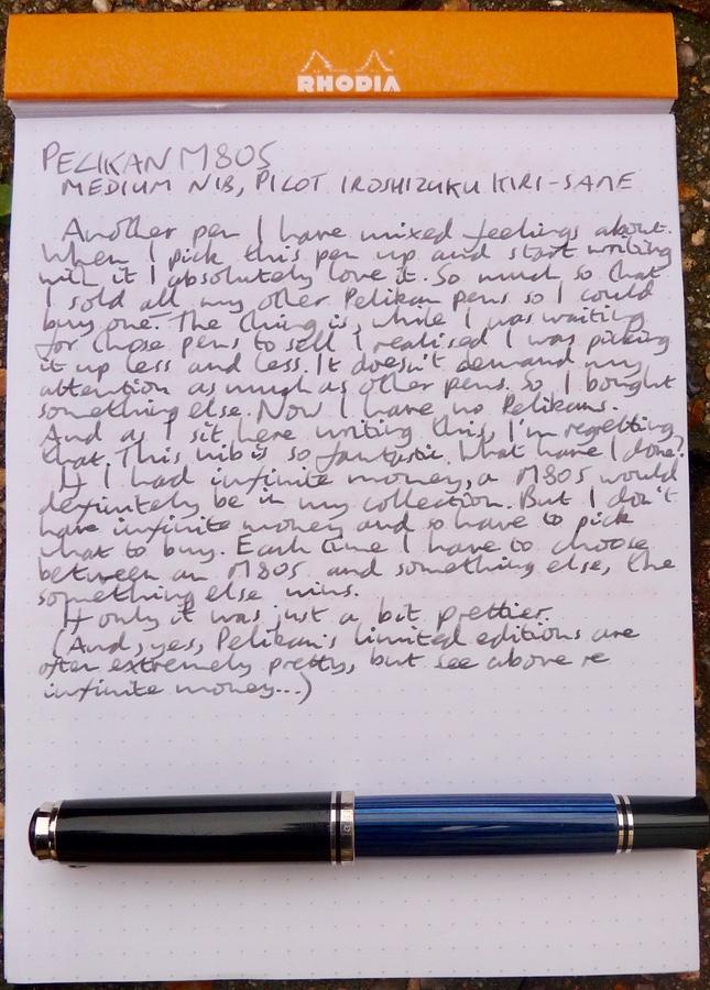 Pelikan M805 handwritten review