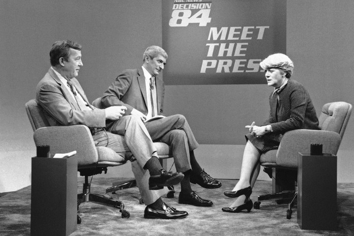 """Roger Mudd (left) on """"Meet the Press"""" with Marvin Kalb and Democratic vice presidential nominee Geraldine Ferraro on October 14, 1984."""