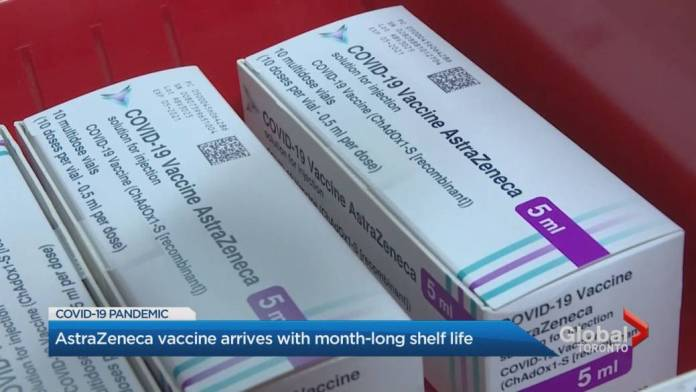 Click to play video 'AstraZeneca vaccine arrives in Canada with a shelf life of less than a month'