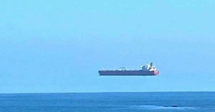 Optical illusion makes huge ship appear to float
