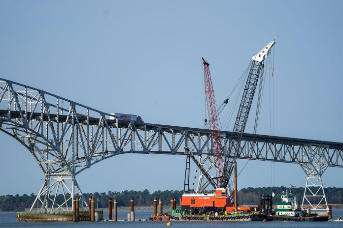 Construction continues on a new $463 million Nice/Middleton Bridge in Newburg, Maryland.