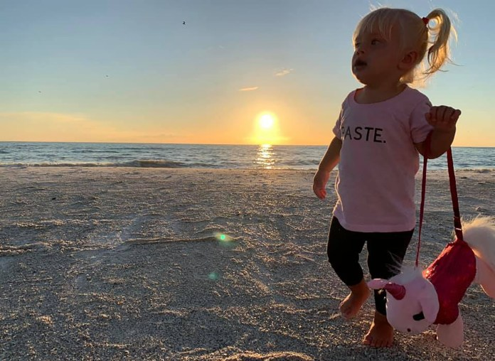 Two-year old Leland Rudeen from Georgia, was on vacation with her family in Marathon, Florida