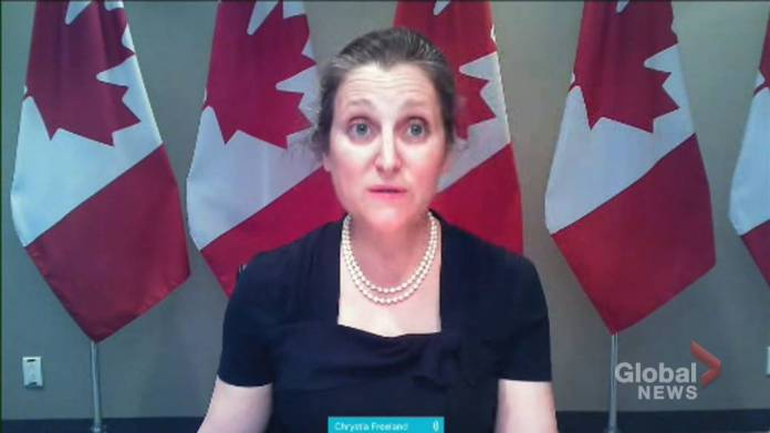 Click to play video: 'Air Canada aid package gives government equity stake in airline: Freeland'