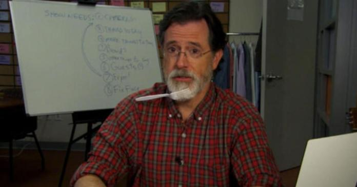 Stephen Colbert shaves face to prepare for