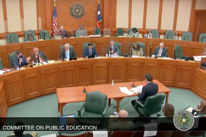 James Talarico speaks at a committee on public education.